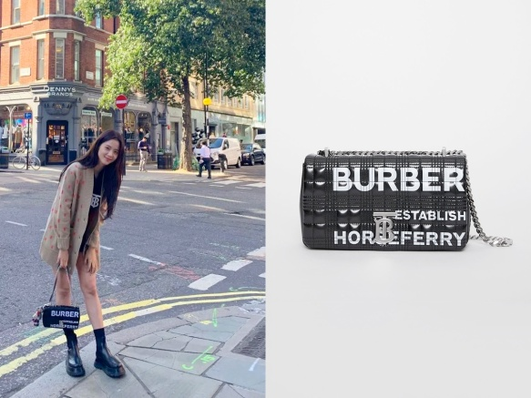 1910 Jisoo - Burberry Small Horseferry Print Quilted Check Lola Bag